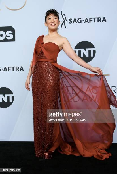 Outstanding Performance by a Female Actor in a Drama Series for Killing Eve winner Sandra Oh poses in the press room during the 25th Annual Screen...