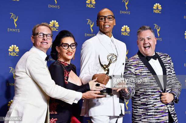 Outstanding RealityCompetition Program winners Carson Kressley Michelle Visage RuPaul and Ross Mathews pose in the press room during the 70th Emmy...