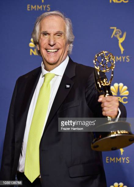 Outstanding Supporting Actor in a Comedy Series Henry Winkler poses in the press room during the 70th Emmy Awards at Microsoft Theater on September...