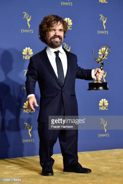 Outstanding Supporting Actor in a Drama Series Peter Dinklage poses in the press room during the 70th Emmy Awards at Microsoft Theater on September...