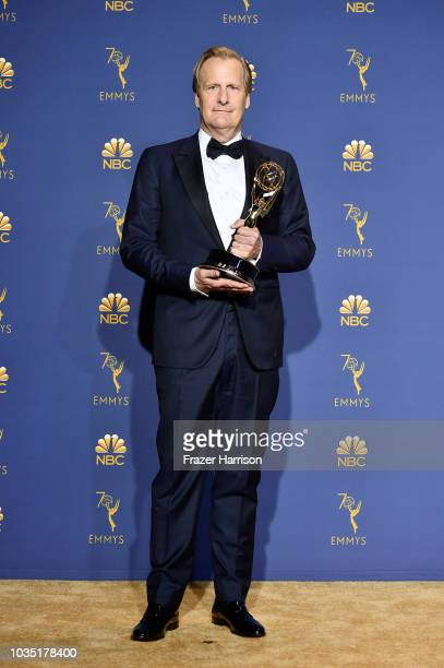 Outstanding Supporting Actor in a Limited Series or Movie Jeff Daniels poses in the press room during the 70th Emmy Awards at Microsoft Theater on...