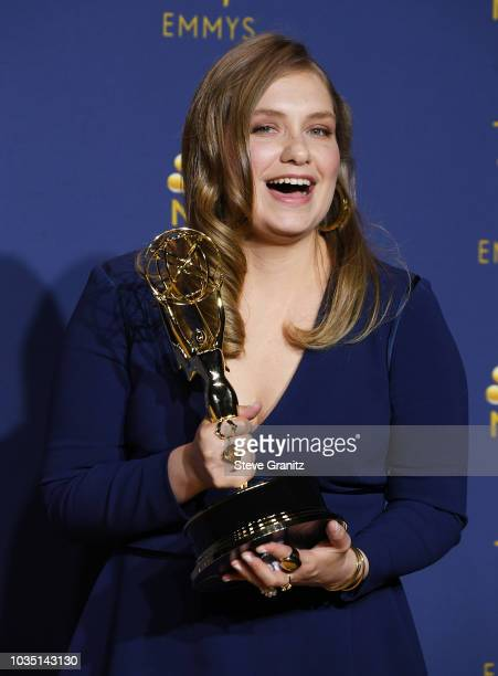 Outstanding Supporting Actress in a Limited Series or Movie Merritt Wever poses in the press room during the 70th Emmy Awards at Microsoft Theater on...
