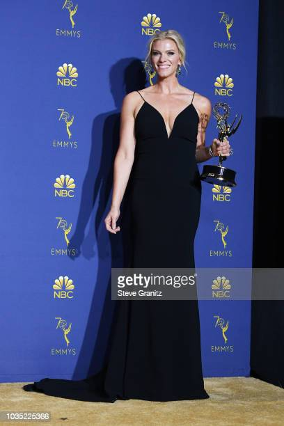 Outstanding Variety Sketch Series winner Lindsay Shookus poses in the press room during the 70th Emmy Awards at Microsoft Theater on September 17...