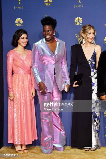 Outstanding Variety Sketch Series winners Melissa Villasenor Leslie Jones and Heidi Gardner pose in the press room during the 70th Emmy Awards at...