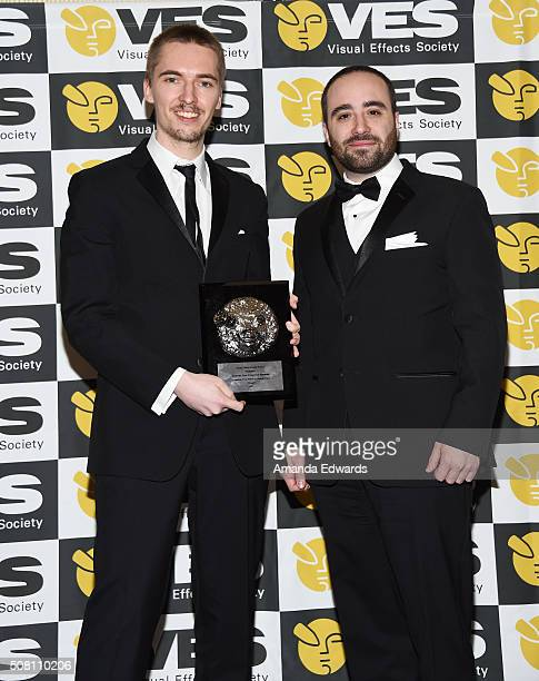 Outstanding Visual Effects in a Student Project award recipients Francesco Faranna and Andreas Feix pose in the 14th Annual VES Awards press room at...