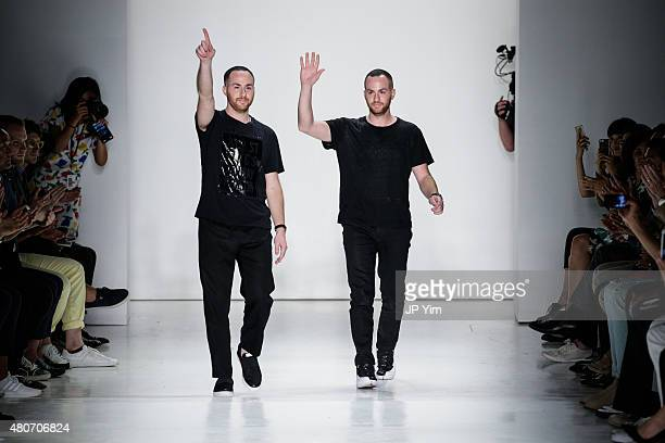 Ovadia Sons designers Ariel Ovadia and Shimon Ovadia walk the runway at the Ovadia Sons Collection during New York Fashion Week Men's S/S 2016 at...