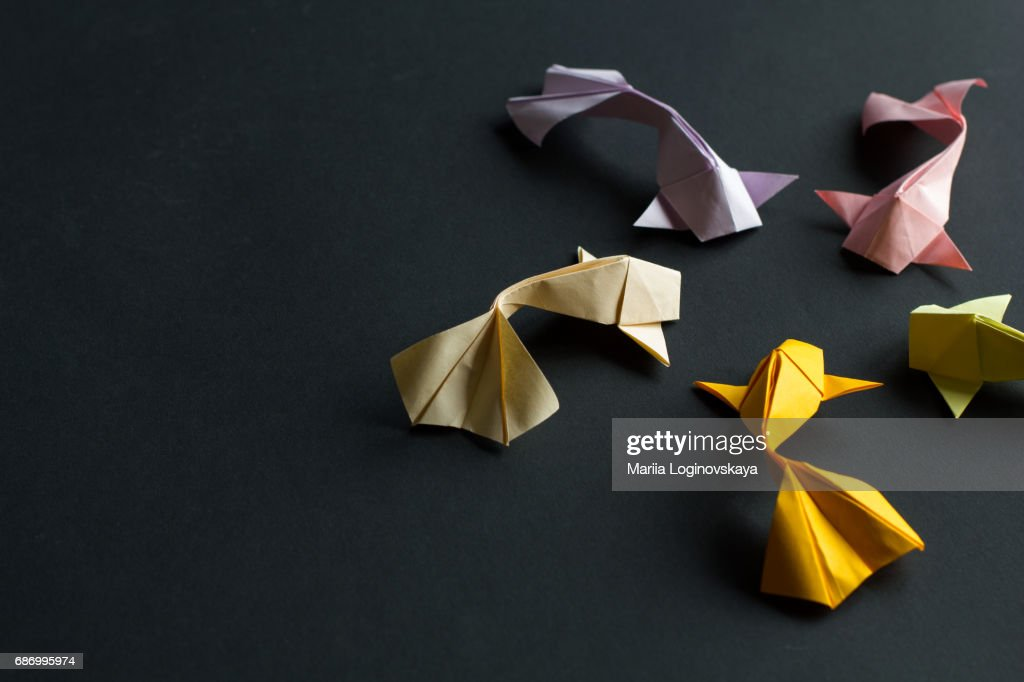 Oval Frame Figure Of Handmade Paper Craft Origami Gold Koi Carp
