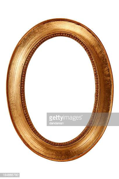 oval gold frame xxxl - oval shaped objects stock pictures, royalty-free photos & images