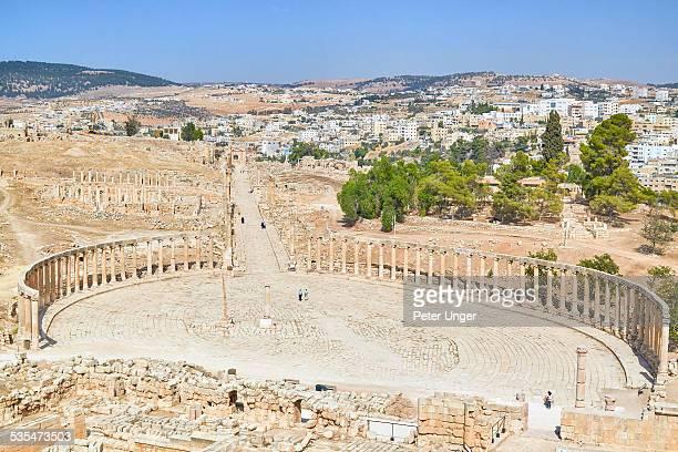 Oval Plaza and the Cardo of the roman city, Jerash
