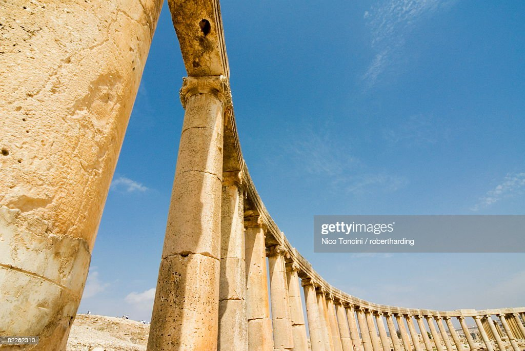 Oval Plaza with colonnade and Ionic columns, Jerash (Gerasa) a Roman Decapolis city, Jordan, Middle East : Stock Photo
