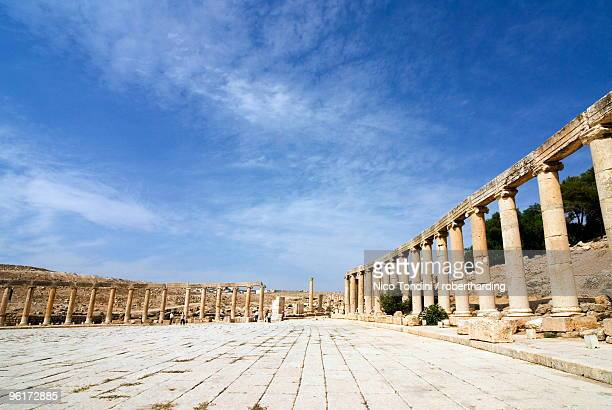 Oval Plaza with colonnade and ionic columns, Jerash (Gerasa), a Roman Decapolis city, Jordan, Middle East