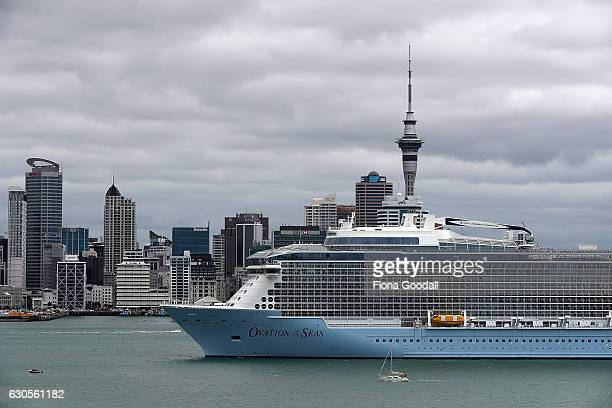 Ovation of the Seas anchored in the Waitemata Harbour attracts attention from Devonport locals on December 27 2016 in Auckland New Zealand The 348...