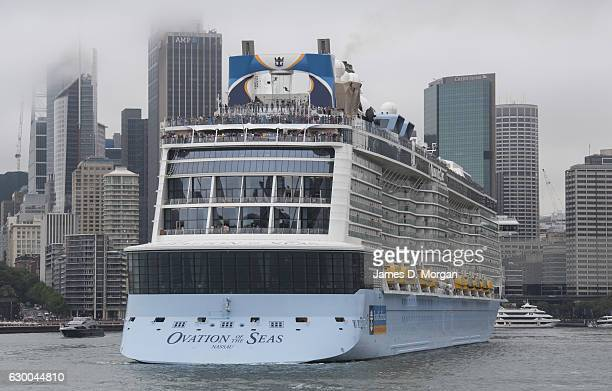 Ovation of the Seas departs Sydney from Overseas Passenger Terminal on December 16 2016 in Sydney Australia Royal Caribbean's Ovation of the Seas has...