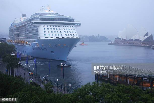 Ovation of the Seas docks for the first time at Overseas Passenger Terminal on December 15 2016 in Sydney Australia Royal Caribbean's Ovation of the...