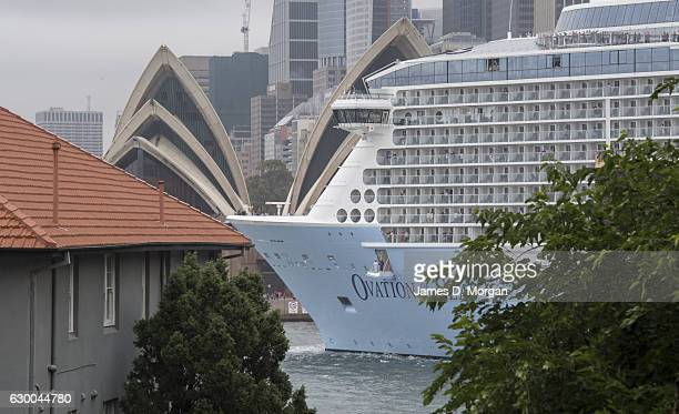 Ovation of the Seas passes the Opera House as she departs Sydney from the Overseas Passenger Terminal on December 16 2016 in Sydney Australia Royal...
