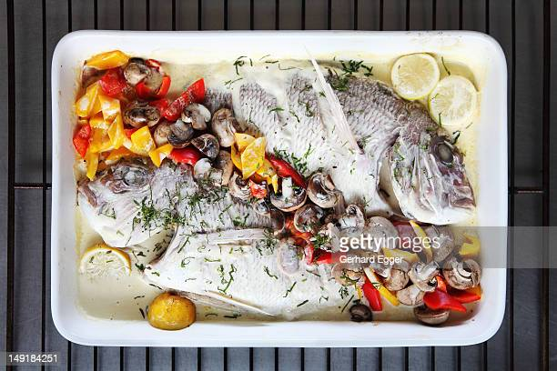 oven baked fish - gerhard egger stock pictures, royalty-free photos & images