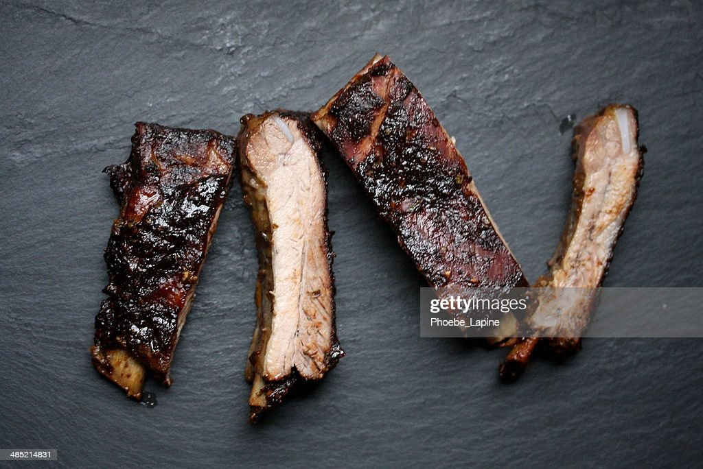 Oven baked pork ribs with tex-mex bbq sauce : Stock Photo