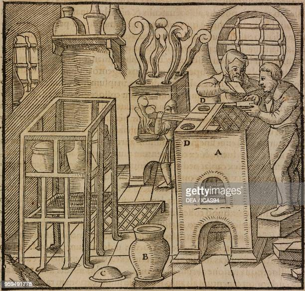 Oven for separating silver or copper from gold saltpeter and vitriol method engraving from De Re Metallica by Georg Agricola published in Basel in...