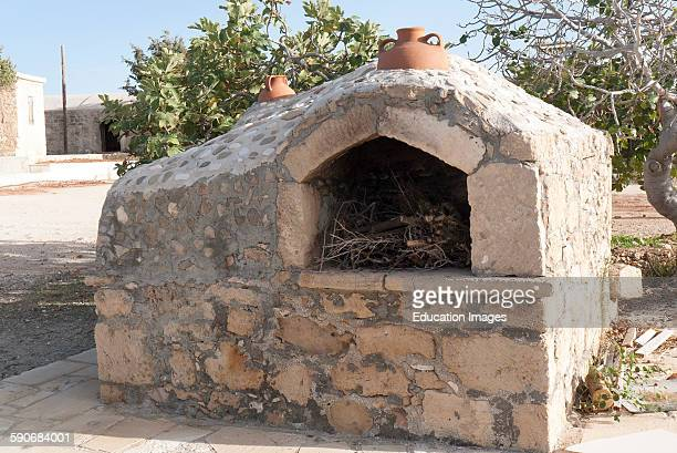 Oven ready for lighting the fire and cook pizzas. Cyprus.