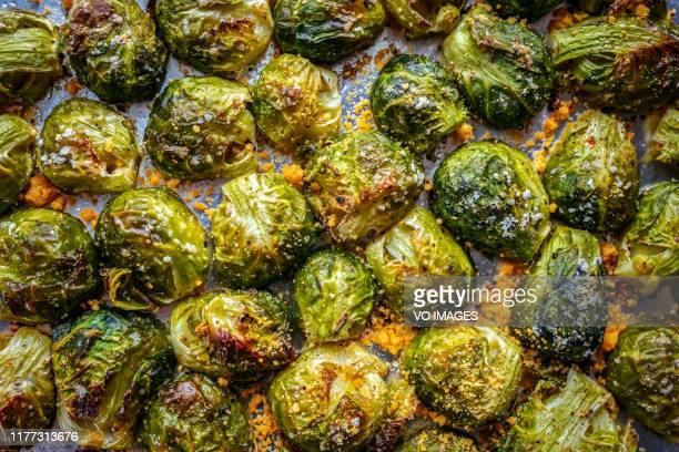 oven roasted brussels sprouts - roasted stock pictures, royalty-free photos & images