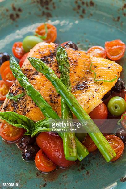 oven-roasted organic Arctic char with asparagus