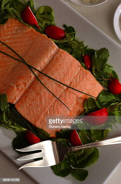 Oven–steamed salmon with homemade green goddess dressing and radish salad as photographed in the photo studio at the LA Times Thursday afternoon in...