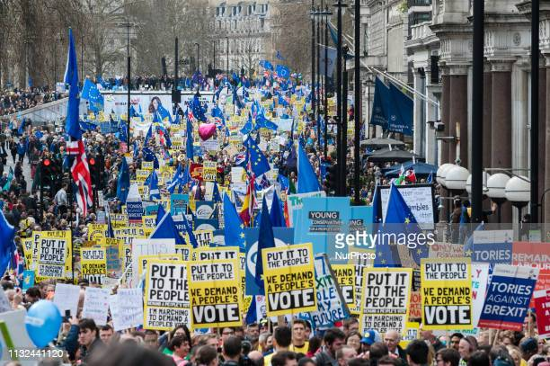 Over 1 million people take part in the antiBrexit 'Put it to the People' march to demand a public vote on the final outcome of Brexit in central...