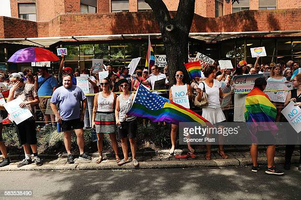 Over 1000 people gather outside of a LGBT center in downtown Philadelphia to protect it from Westboro Baptist Church members during the Democratic...