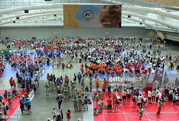 Over 1000 transplant athletes and participants stage up during the opening ceremonies on July 12 2008 at the National Kidney Foundation US Transplant...