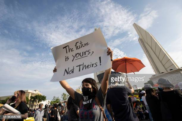 Over 10,000 people gathered in the streets around Bangkok's Democracy Monument, Thailand, on August 16, 2020 at a rally organized by the Free Youth...