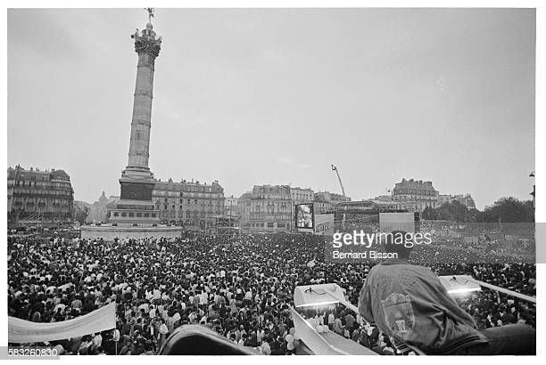 Over 100000 persons attend the 'Party of All Colors' an antiracism rally organized by the SOS Racisme association on the Place de la Bastille
