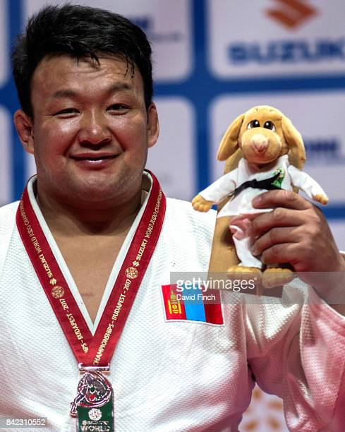 Over 100kg bronze medallist and Beijing Olympic champion Tuvshinbayar Naidan of Mongolia during the 2017 Suzuki World Judo Championships at the...