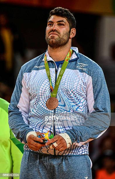 Over 100kg bronze medallist Or Sasson of Israel during the medal ceremony on day 7 of the 2016 Rio Olympic Judo on August 12 2016 in Rio de Janeiro...