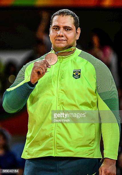 Over 100kg bronze medallist Rafael Silva of Brazil during the medal ceremony on day 7 of the 2016 Rio Olympic Judo on August 12 2016 in Rio de...