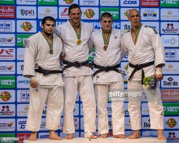 Over 100kg medallists LR Silver Tamerlan Bashaev Gold Lukas Krpalek Bronzes Stephan Hegyi and Henk Grol during day three of the 2018 Tel Aviv...