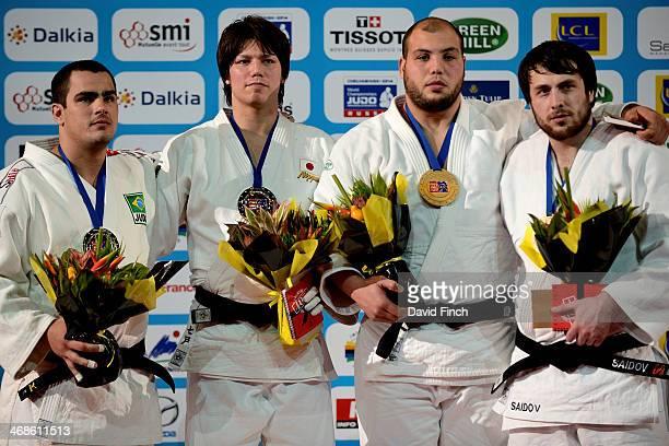 Over 100kg medallists LR SilverDavid Moura BRA GoldRyu Shichinohe JPN BronzeFaicel Jaballah TUN and Renat Saidov RUS during the Paris Grand Slam on...