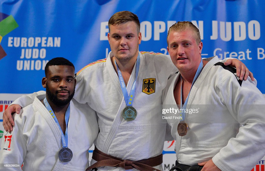 Silver; Theodore Spalding-Macintosh, Gold; Anton Krivickij GER, Bronze; Neil Schofield GBR during the 2015 London European Cup (11-12 July) at Wembley Arena, London, England, United Kingdom.