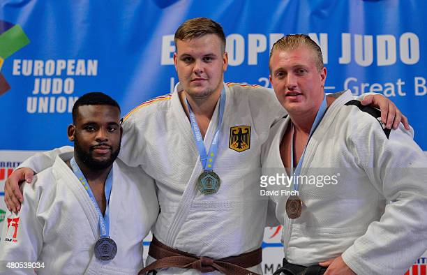 Over 100kg medallists Silver Theodore SpaldingMacintosh Gold Anton Krivickij GER Bronze Neil Schofield GBR during the 2015 London European Cup at...