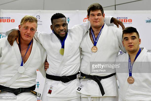 Over 100kg mrdallists LR Silver Neil Schofield Gold Theo SpaldingMcintosh Bronzes Andrew Melbourne and Valentino Volante during the British Senior...
