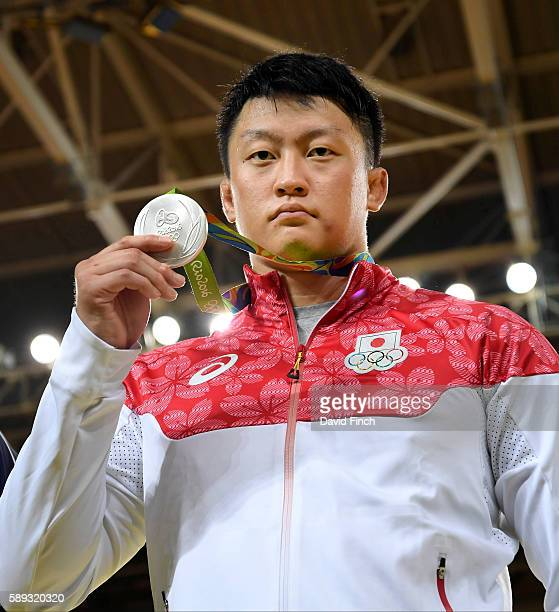 Over 100kg silver medallist Hisayoshi Harasawa of Japan poses with his medal during day 7 of the 2016 Rio Olympic Judo on Friday August 12 at the...