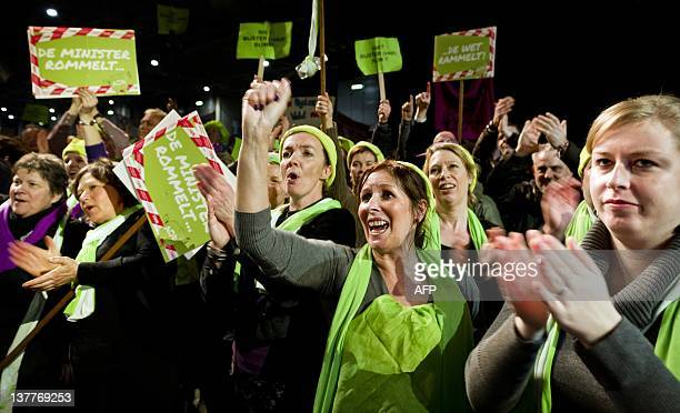 Over 12500 secondary school teachers and school staff exmployees chant slogans during a mass strike and protest in Utrecht on January 26 2012 The...