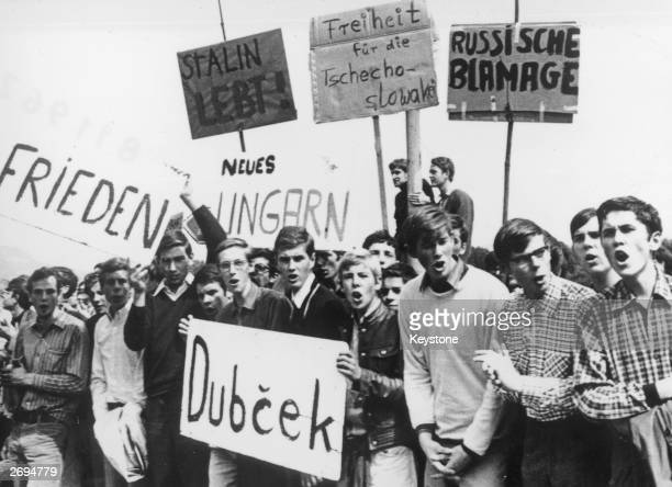 Over 1500 young Germans gather outside the Soviet Embassy in Rolandseck near Bonn to protest against the Soviet invasion of Czechoslovakia