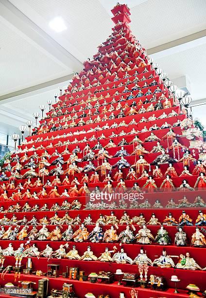 Over 1700 Hina Dolls are displayed on huge 31story pyramid on February 27 2013 in Konosu City Hall Saitama Japan The Japanese Doll Festival or Girls'...