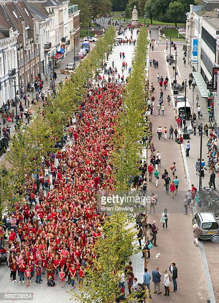 Over 1800 Redhead guests pose for a group photo at 'Redhead Days' on September 4 2016 in Breda Netherlands The 11th annual festival welcomes red...