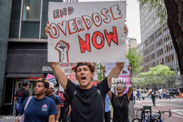 Over 200 overdose prevention activists staged a protest on August 28 2019 at Governor Andrew Cuomos NYC office to call on the Governor's inaction to...
