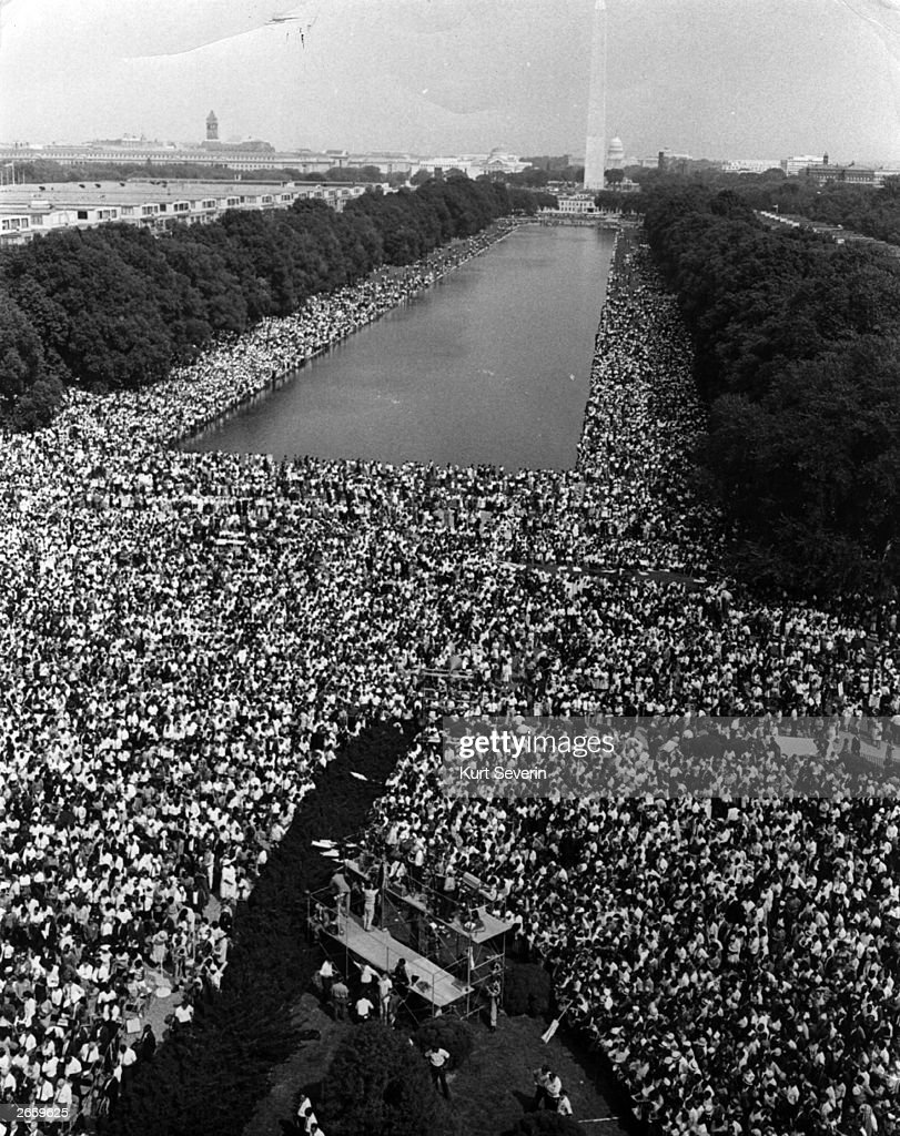 Over 200,000 people gather around the Lincoln Memorial in Washington DC, where the civil rights March on Washington ended with Martin Luther King's 'I Have A Dream' speech.