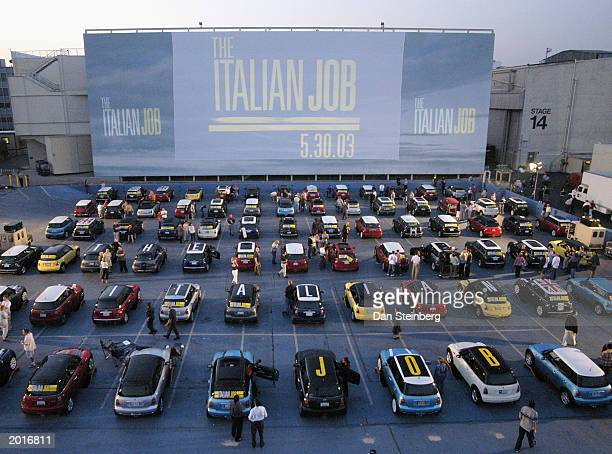 Over 250 MiniCoopers converge for a 'Mini' Premiere of the film 'The Italian Job' at a makeshift drivein style theater on the Paramount Studios lot...