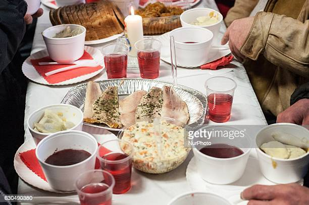 Over 300 people take part in the Christmas Eve meal in Sopot Poland on 24 December 2016 Traditional Polish Christmas Eve meal was organized by the...