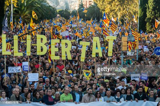 Over 300000 people protest in Barcelona over the jailing of Catalan politicians who organised the the 2017 referendum on October 26 2019 in Barcelona...