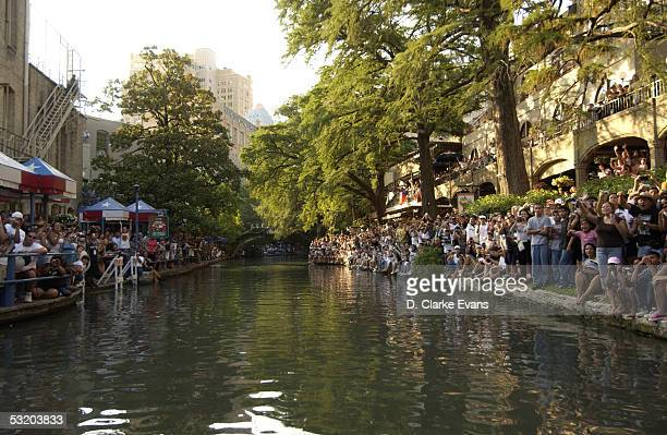 Over 300,000 San Antonians crowd the River Walk in celebration of the San Antonio Spurs 2005 NBA Championship June 25, 2005 at the San Antonio River...